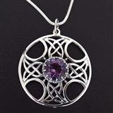 Celtic Amethyst Scottish Silver Pendant