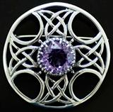 Celtic Cross Amethyst Shield Brooch