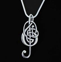 Celtic Interlace Treble Clef Silver Pendant