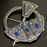 Celtic Pennanular Stone Set Plaid Brooch