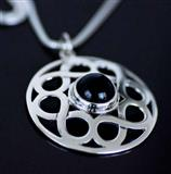 Celtic Silver Black Onyx Gemstone Pendant