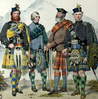 MacIan print of  Highlanders wearing kilts and plaids separately.
