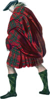 Highlander wearing the Philamhor belted plaid.